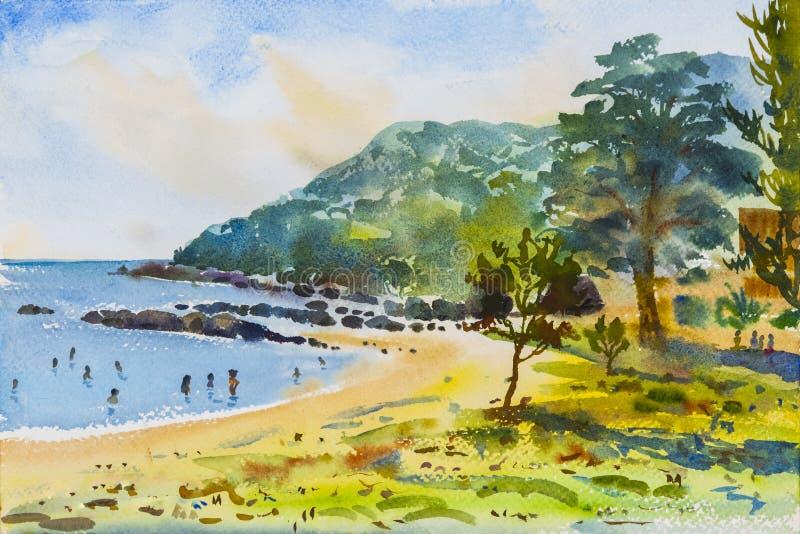 Måla för vattenfärgseascape som är färgrikt av berget och stranden vektor illustrationer