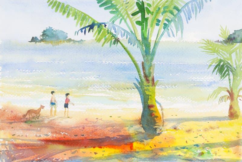 Måla för vattenfärgseascape som är färgrikt av pojkar och flickor på stranden royaltyfri illustrationer