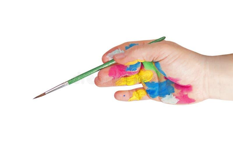 Måla handen arkivfoton