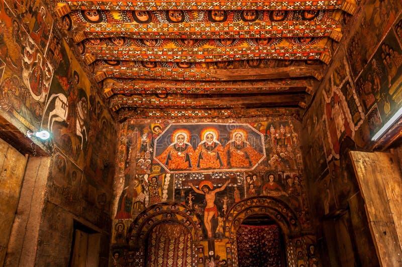 Måla i den Debre Birhan Selassie kyrkan, Gondar fotografering för bildbyråer