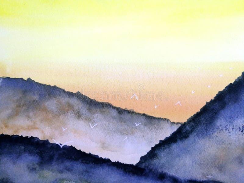 Måla landskapsolnedgång eller soluppgång på bergdimman med vita fåglar som flyger i himlen royaltyfri illustrationer