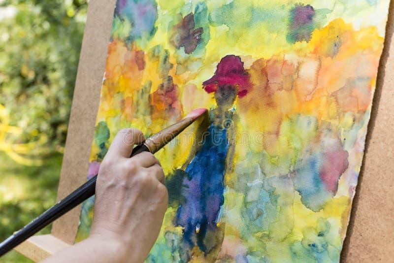 Måla med vattenfärger royaltyfria foton