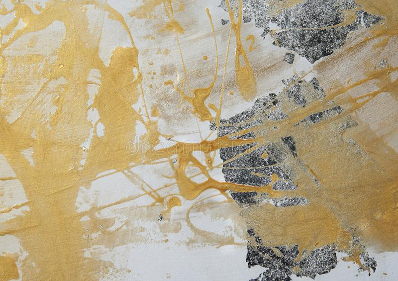 Måla på drywall, försilvrar gul målarfärg, polityr, sammansättning, textur arkivfoto
