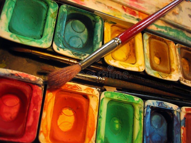 måla paletten arkivfoto