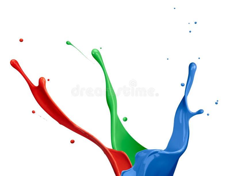 måla rgb-färgstänk arkivfoton