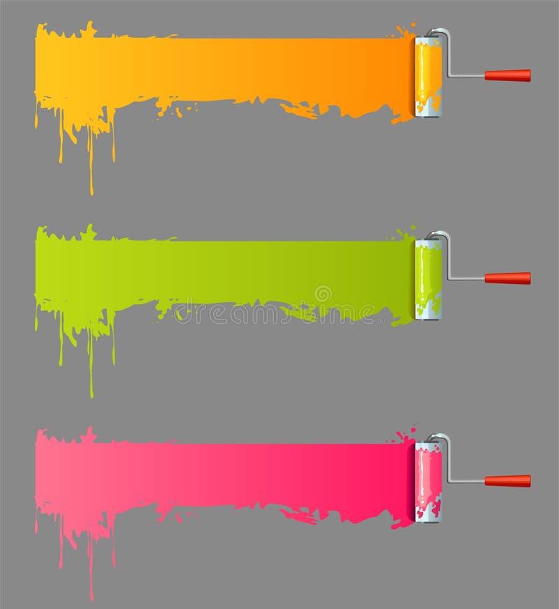 måla rulle vektor illustrationer