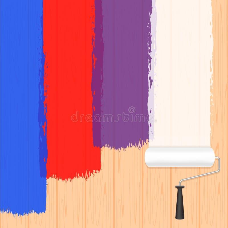 Måla rullfärger på träväggen för banerbakgrund, och kopieringsutrymmetext som annonserar, rulle för målarfärgborste, må stock illustrationer