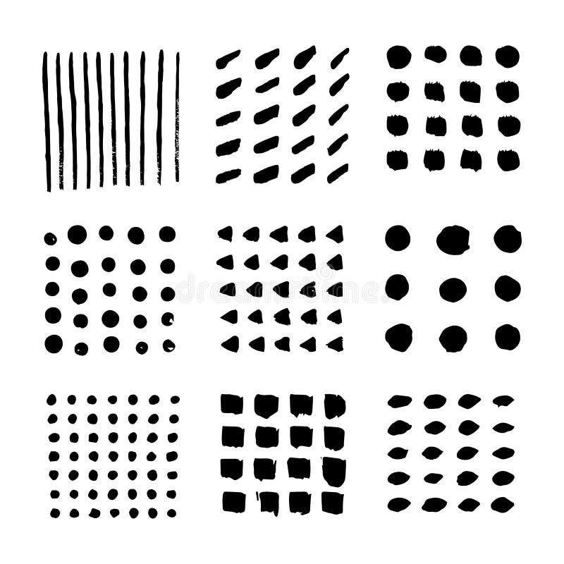Måla slaglängder och fläckar vektor illustrationer