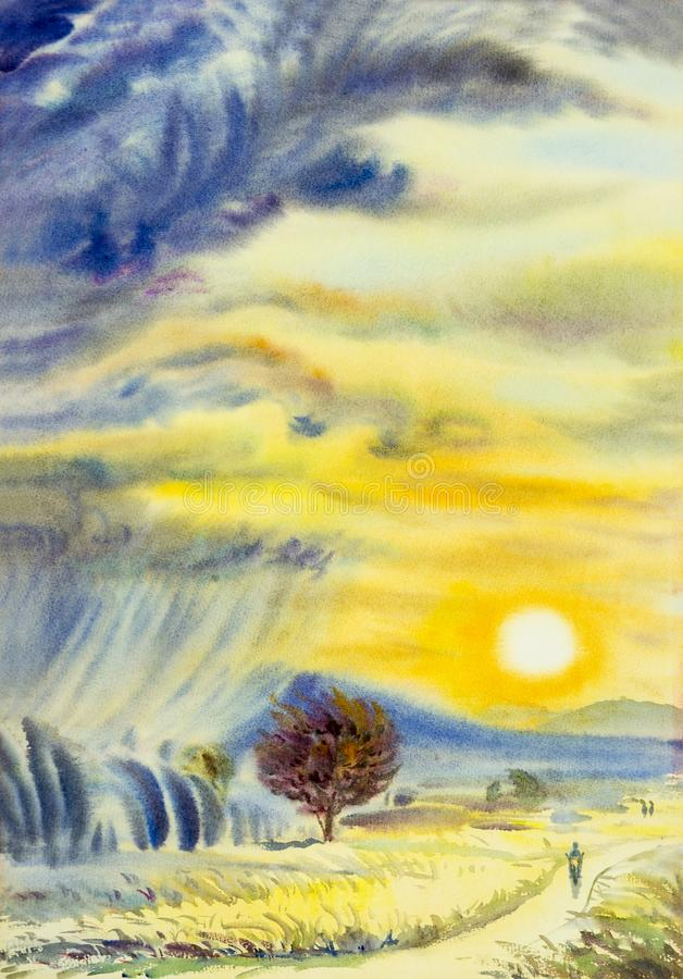 Måla som är färgrikt av solnedgång på berg- och regnmolnet, blåsigt royaltyfri illustrationer