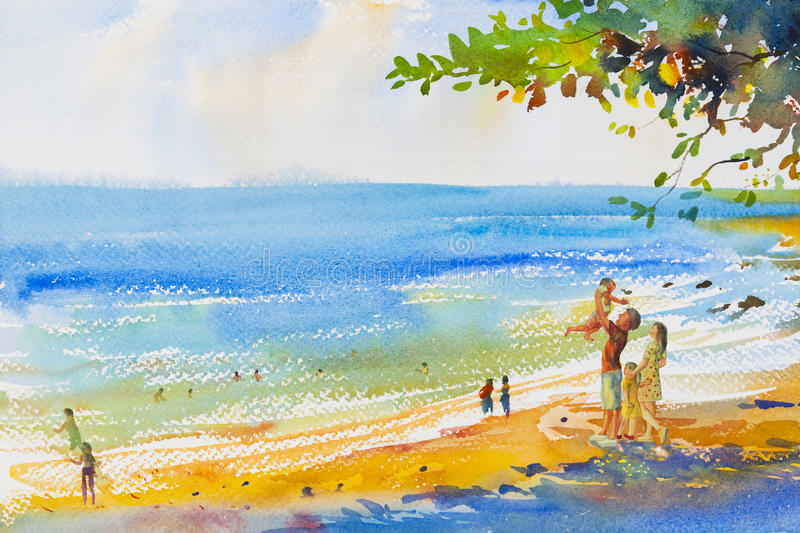 Måla som är färgrikt av stranden och familjen i sinnesrörelsemolnbackgrou stock illustrationer