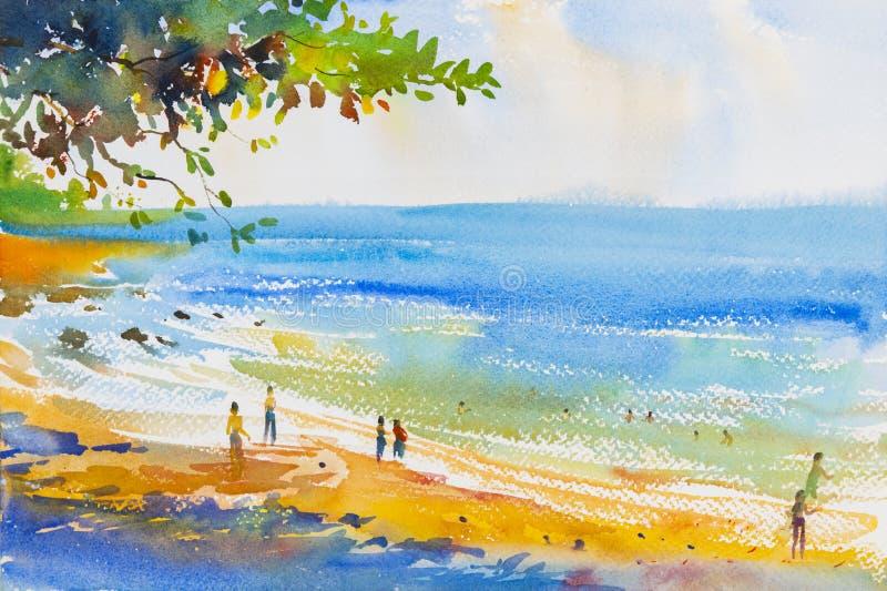Måla som är färgrikt av stranden och sand royaltyfri illustrationer