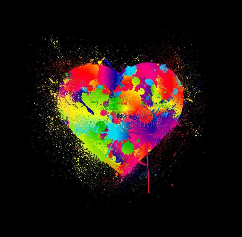 Måla splatterhjärta. Vektorillustration vektor illustrationer