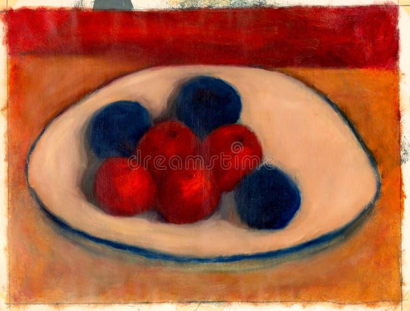 Måla studien av frukter på en platta royaltyfri illustrationer