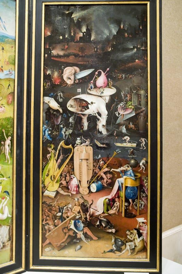 Måla vid Hieronymus Bosch, trädgården av jordiska fröjder, i museet de Prado, Prado museum, Madrid, Spanien royaltyfria bilder