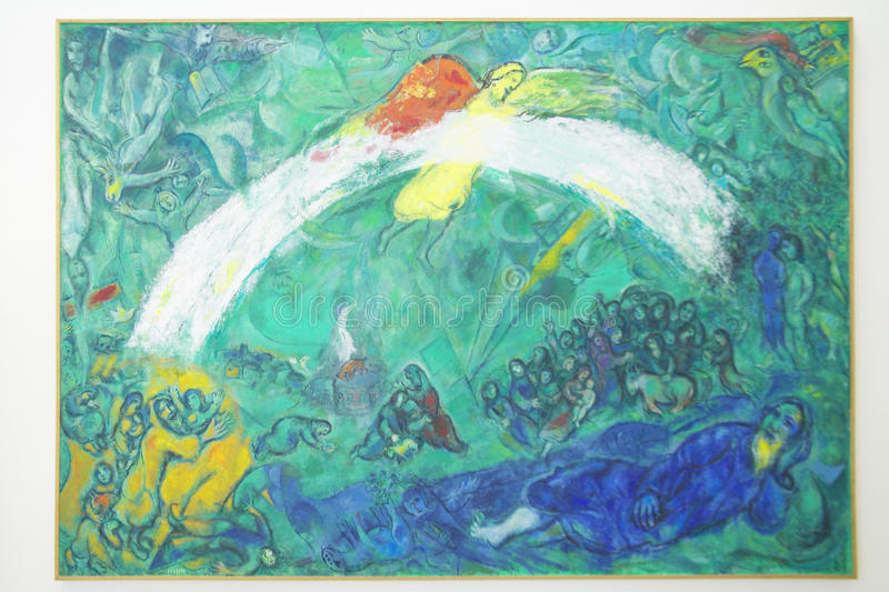 Måla vid Marc Chagall, Marc Chagall Museum, Nice, Frankrike royaltyfria foton