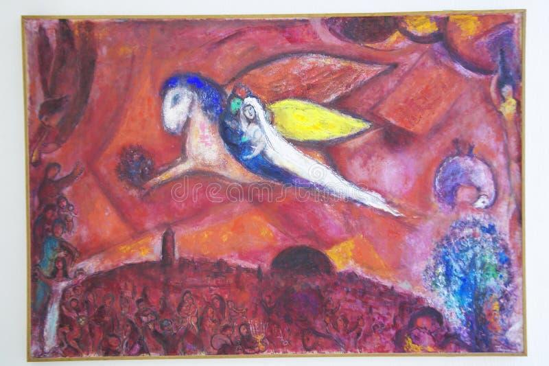 Måla vid Marc Chagall, Marc Chagall Museum, Nice, Frankrike royaltyfri fotografi