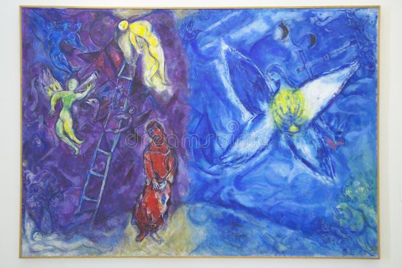 Måla vid Marc Chagall, Marc Chagall Museum, Nice, Frankrike fotografering för bildbyråer
