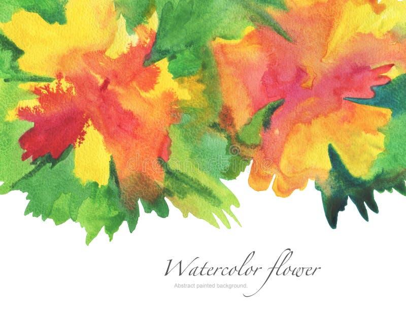 Målad bakgrund för vattenfärg blomma arkivfoto