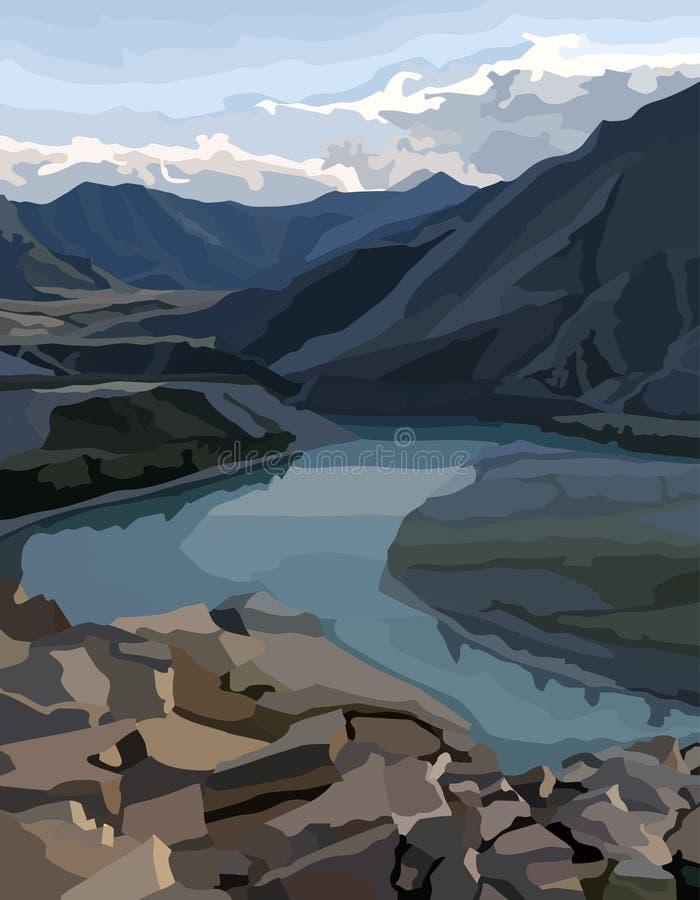 Målad bakgrundssikt av en bergdal med en flod royaltyfri illustrationer
