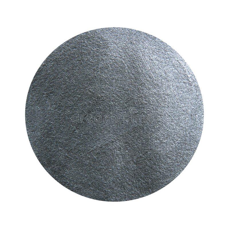 Målad cirkel för silver akryl Metallisk texturerad fläck royaltyfri bild