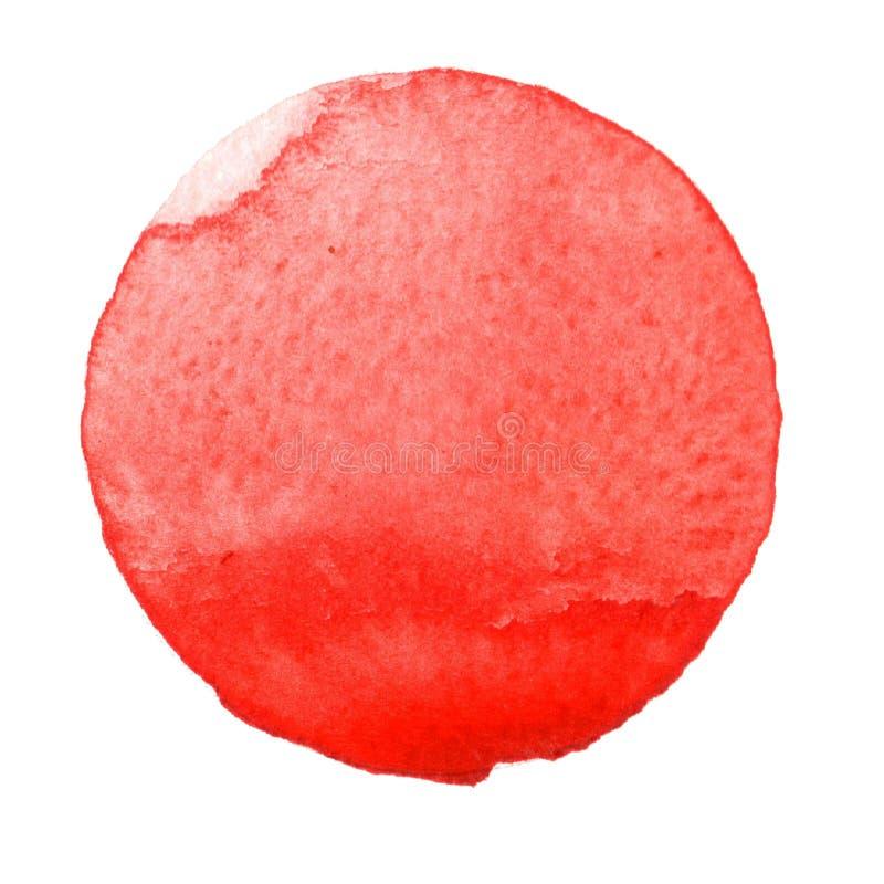 Målad cirkel för vattenfärg hand Härliga designbeståndsdelar Röd bakgrund royaltyfria bilder
