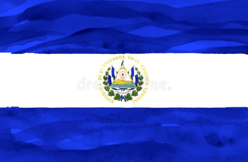 Målad flagga av El Salvador royaltyfria bilder