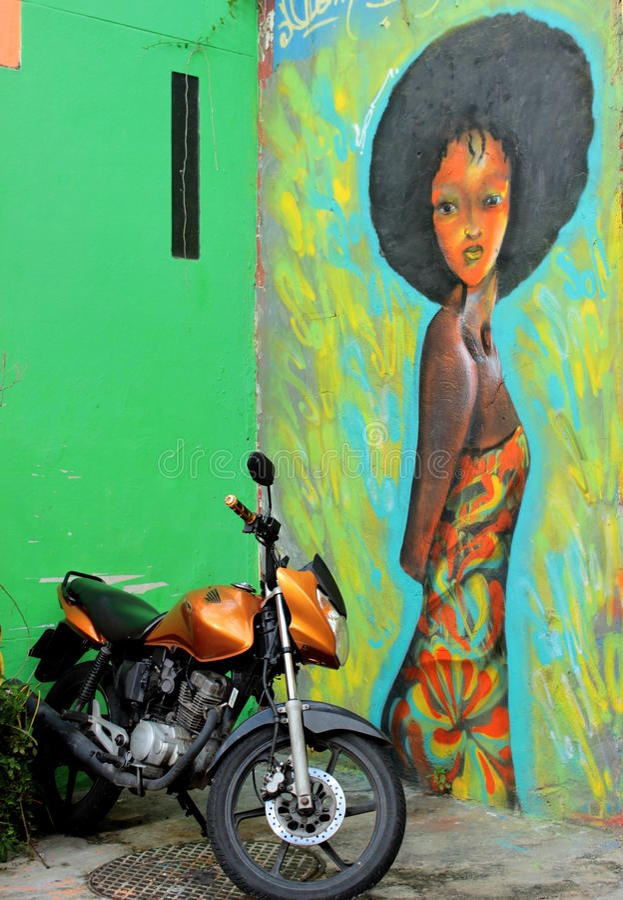 Målad flicka från Rio de Janeiro arkivbilder