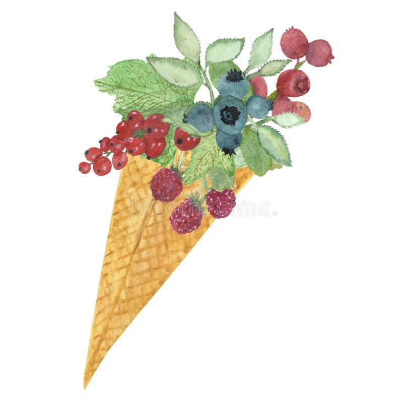 Målad fruktglass in för vattenfärgen ställde handen med sidor, mintkaramellen, bär, limefrukt, vattenmelon, citronen, pinnen och  stock illustrationer