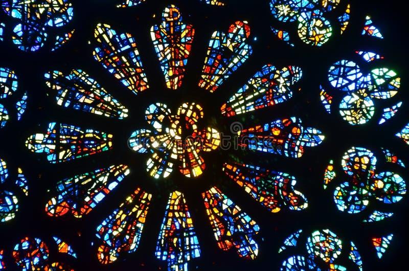 Målad glas Rose Window royaltyfria bilder