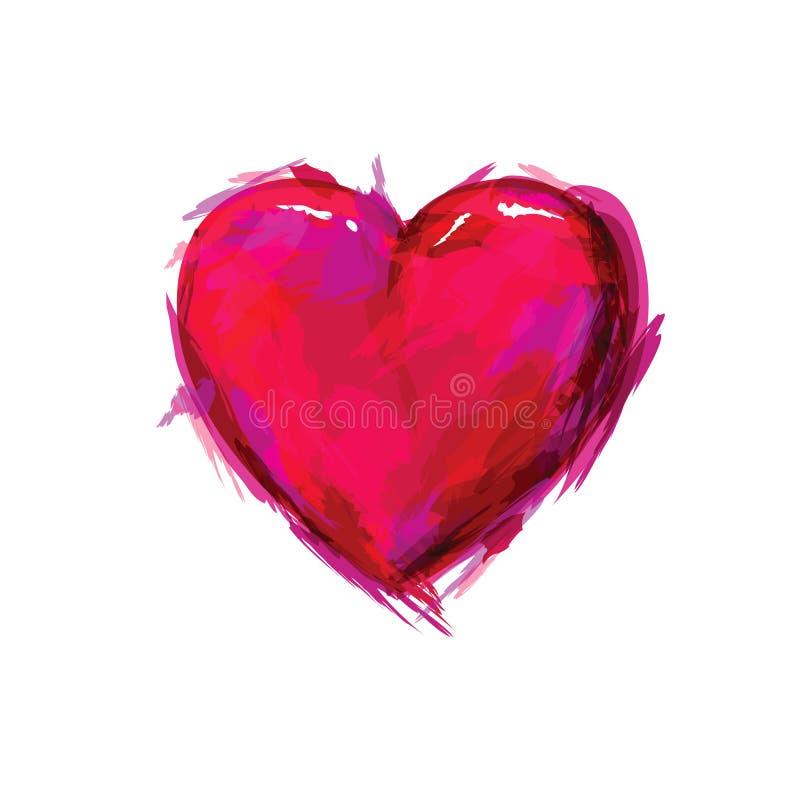 Målad hjärta vektor illustrationer