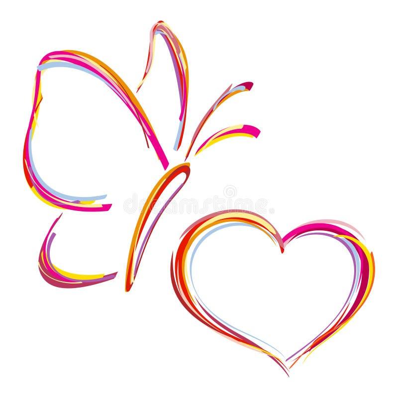 Målad hjärta och fjäril stock illustrationer