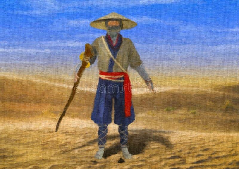 Målad illustration av den kloka gamla traditionella asiatiska mannen som går till och med öken arkivfoton