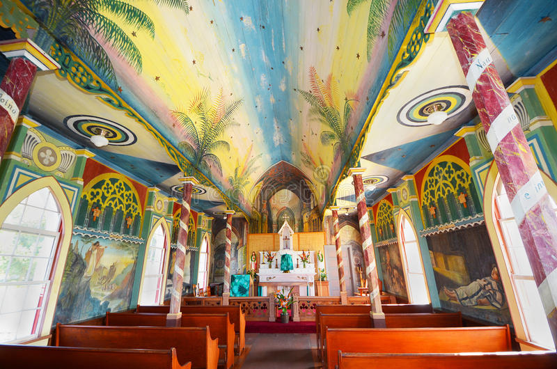 Målad kyrka, St Benedicts Kona Hawaii stor ö arkivbild