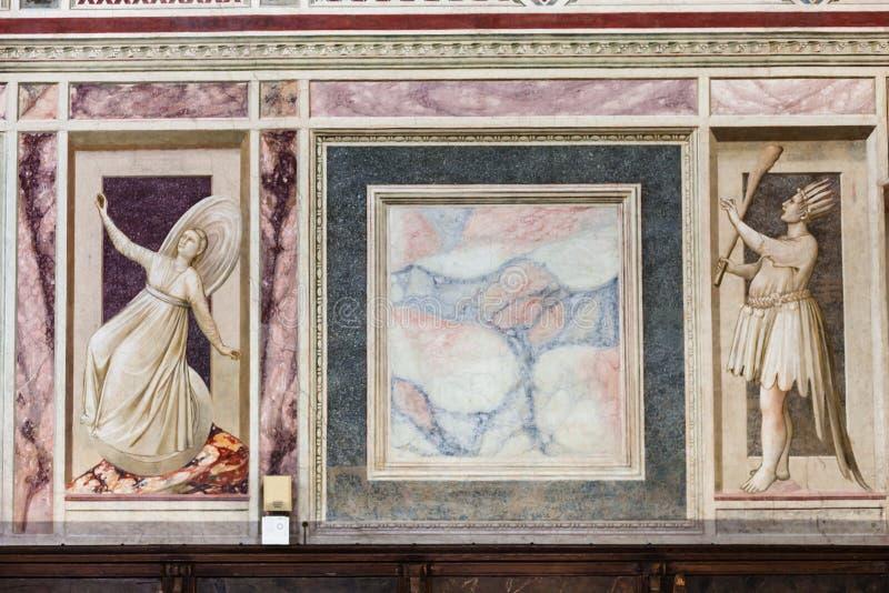 Målad marmor i det Scrovegni kapellet i Padua royaltyfria bilder