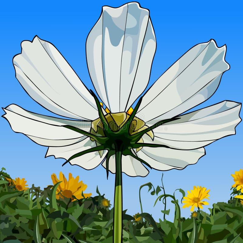 Målad närbild för vit blomma mot himlen och grönskan royaltyfri illustrationer