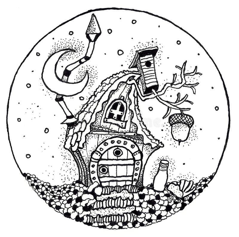 Målad penna för saga stuga stock illustrationer