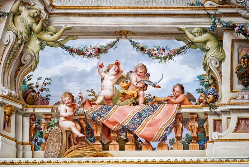 Målad plats av Cherubini, från Royal Palace av Caserta royaltyfria foton