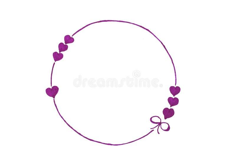 Målad purpurfärgad cirkel med hjärtor och pilbåge, band på en vit bakgrund Vykort för feriemorsa dagen, påsk, födelsedag, vektor illustrationer