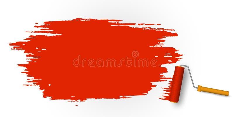 Målad röd fläck med målarfärgrullen royaltyfri illustrationer