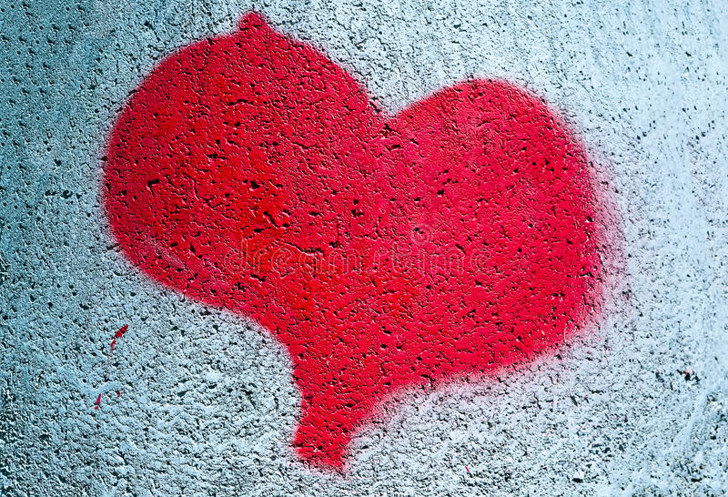 Målad röd hjärta