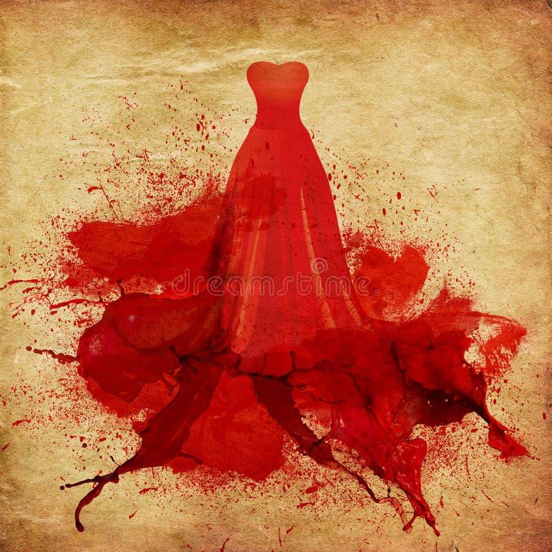 Målad röd klänning royaltyfri illustrationer