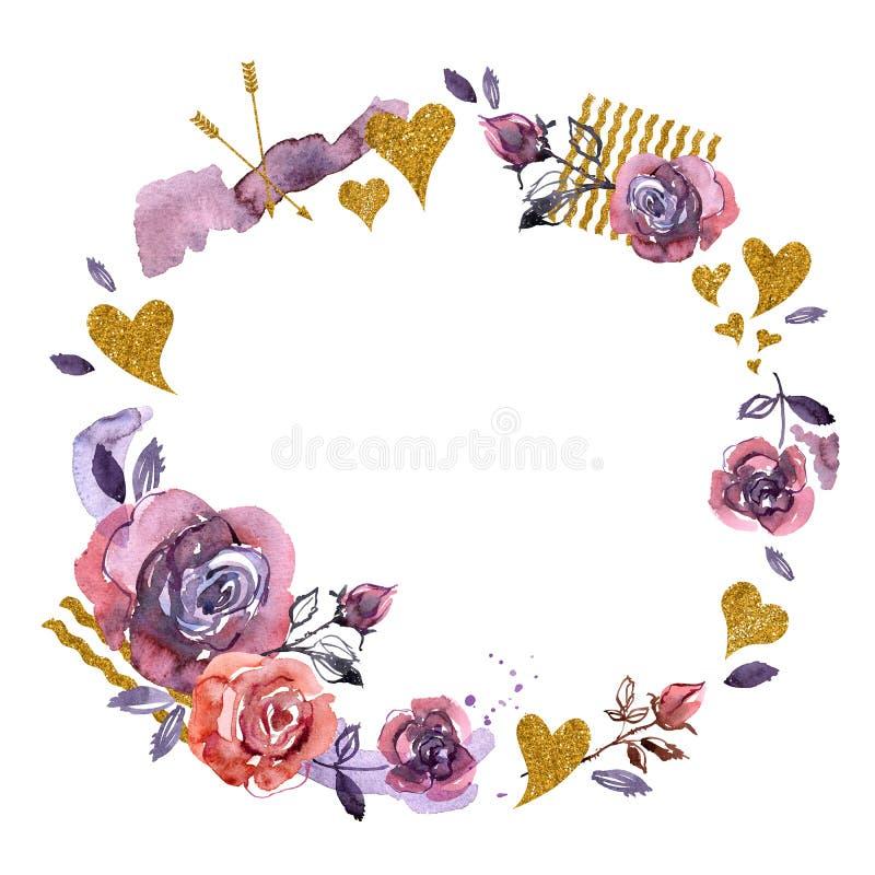 Målad ram för vattenfärg hand med purpurfärgade rosor och guld- hjärtor royaltyfri illustrationer