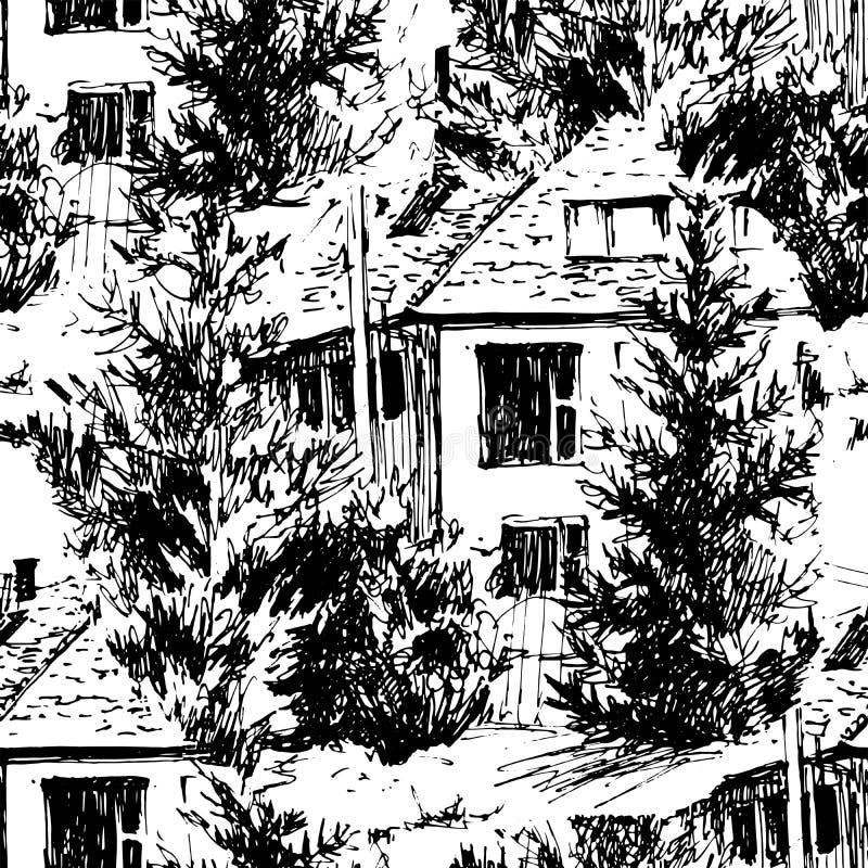 M?lad s?ml?s modell f?r vektor hand Urban landskap i den drog handen ink linjen stil Den gamla stadsgatan skissar p? vit vektor illustrationer
