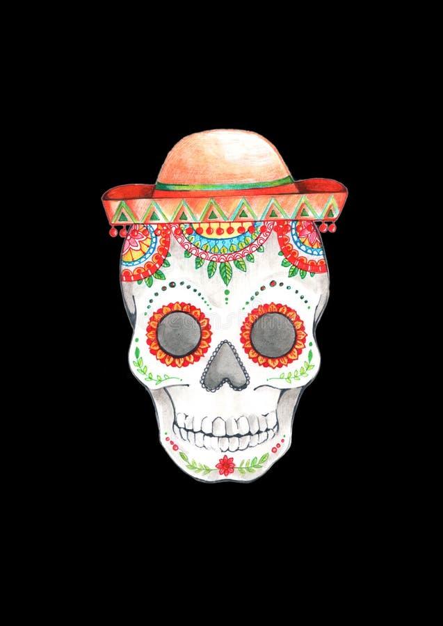 Målad skallemodell i mexicansk stil i sombrero arkivfoto