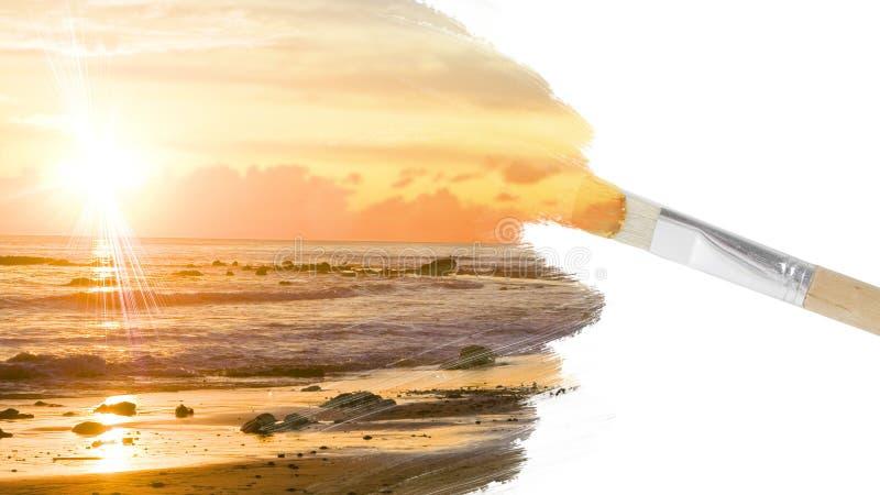 målad solnedgång stock illustrationer