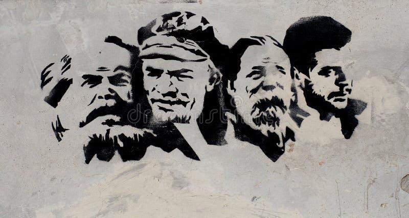 Målad stencil av framstående ledare i Faro Portugal arkivbilder