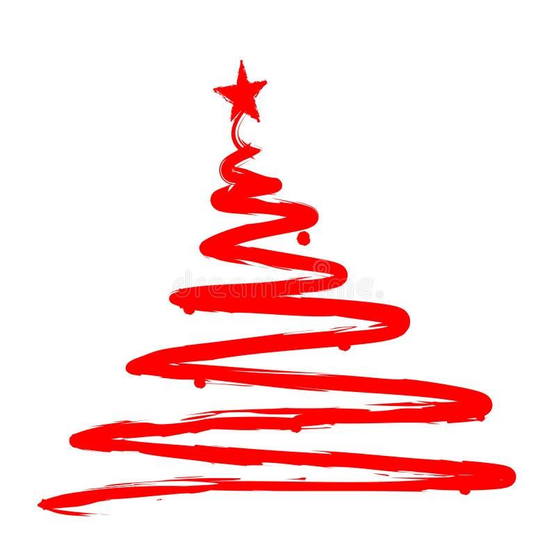 målad tree för jul illustration vektor illustrationer