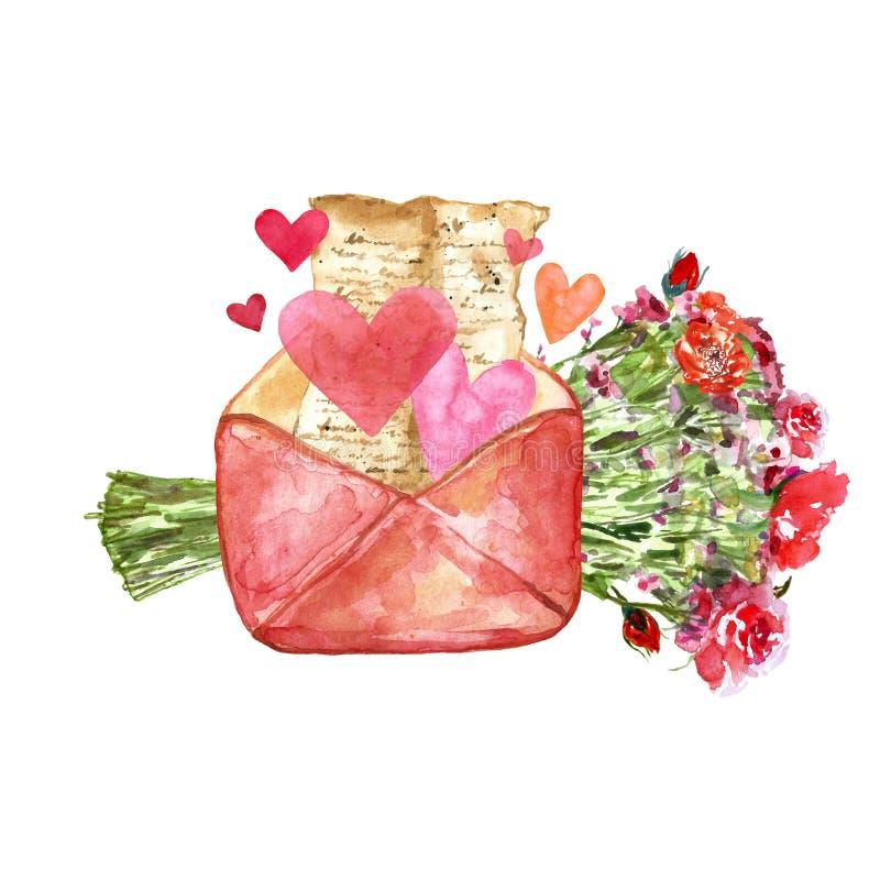 Målad uppsättning för vattenfärg hand med förälskelsebokstaven med herts och den blom- buketten med röda nätta blommor som gåvan royaltyfri illustrationer