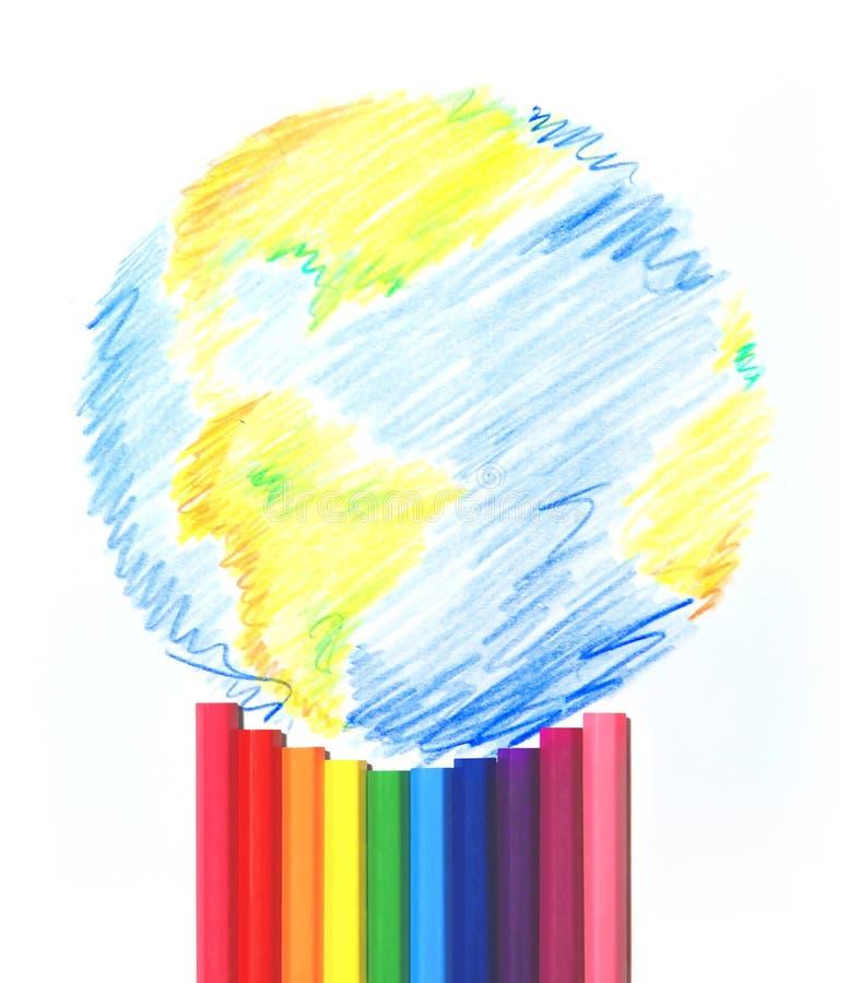 målad värld stock illustrationer