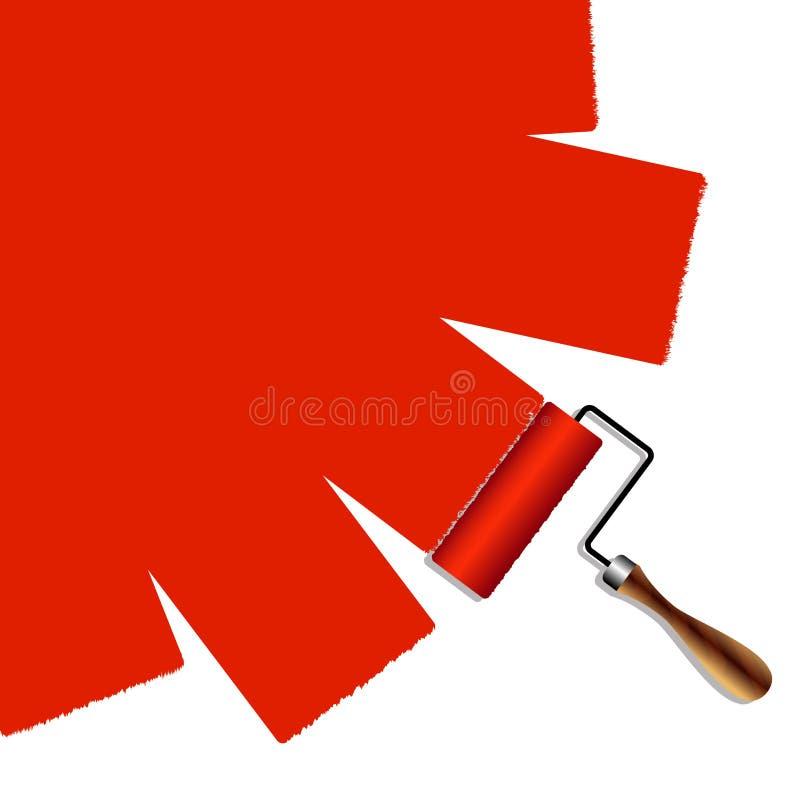 Målad yttersida rullen med röd målarfärg stock illustrationer